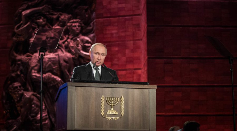 Russian+President+Vladimir+Putin+speaks+at+the+Fifth+World+Holocaust+Forum+at+the+Yad+Vashem+Holocaust+memorial+museum+in+Jerusalem%2C+Jan.+23%2C+2020.+%28Yonatan+Sindel%2FFlash90%29+%E2%80%82%E2%80%82%E2%80%82