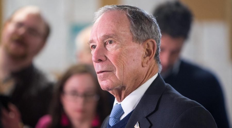 Michael+Bloomberg+speaks+with+the+media+after+touring+the+W.H.+Bagshaw+Company+during+an+exploratory+trip+to+Nashua%2C+N.H.%2C+Jan.+29%2C+2019.+%28Scott+Eisen%2FGetty+Images%29