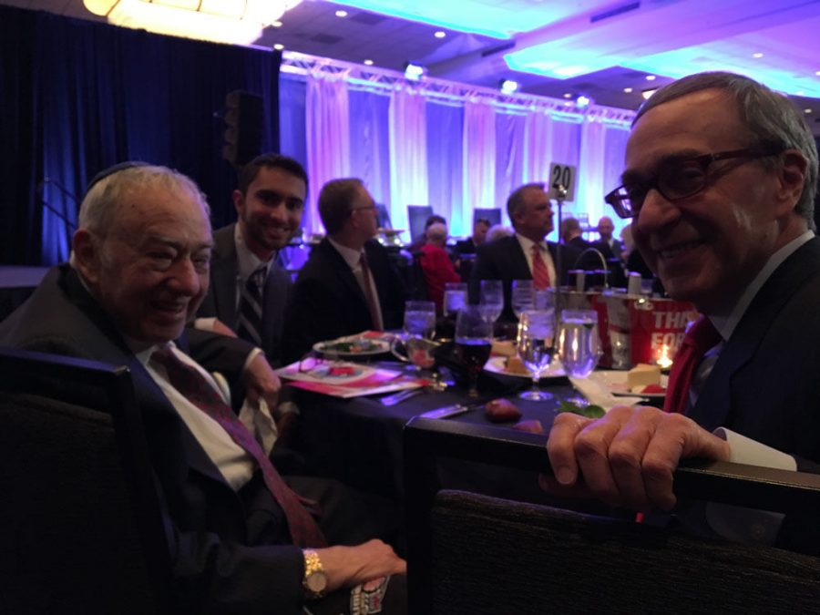 Alan Makovsky (right) traveled from Washington D.C. to his hometown to attend the St. Louis Baseball Writers' Dinner along with his brother Don (left) and grand-nephew Tani on Sunday, Jan. 19 at the Marriott Grand Hotel downtown.