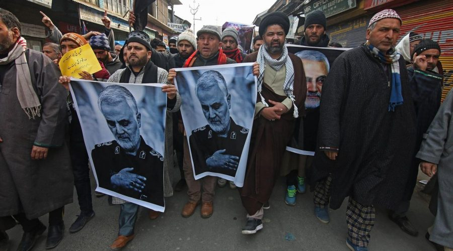 Kashmiri+Shiite+Muslims+carry+pictures+of+killed+Iranian+general+Qassem+Soleimani+as+they+march+during+an+anti-American+protest+in+central+Kashmir%2C+Jan.+3%2C+2020.+%28Faisal+Khan%2FNurPhoto+via+Getty+Images%29