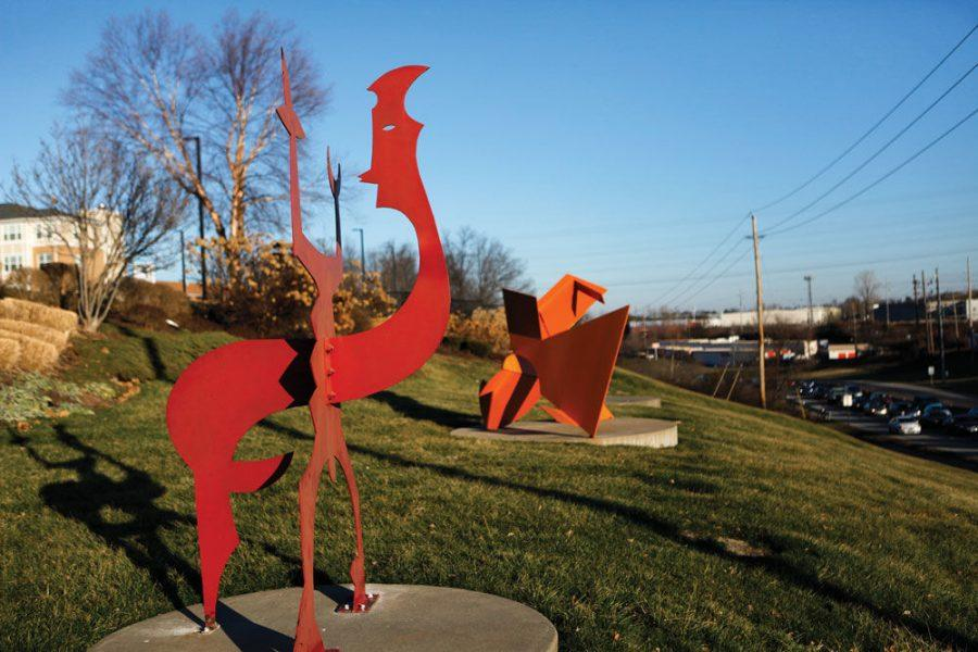 Weekday morning traffic going south on Lindbergh Boulevard passes by the steel sculptures adorning the hillside of the I.E. Millstone Jewish Community Campus. Sprinkled throughout the campus are a total of 215 pieces of art. Photo: Mike Sherwin