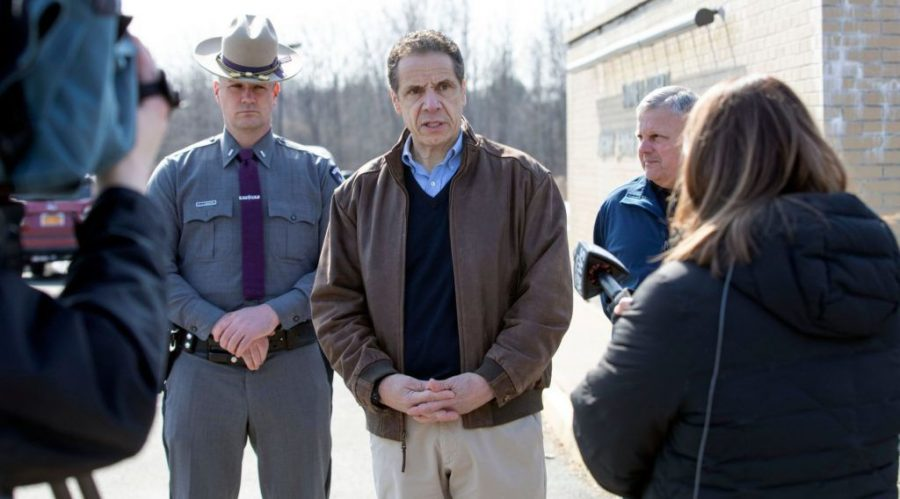 New+York+Gov.+Andrew+Cuomo+talks+to+reporters+in+front+of+the+Sidney+Albert+Albany+JCC+after+the+building+was+evacuated+due+to+an+emailed+bomb+threat%2C+Feb.+23%2C+2020.+Photo%3A+Mike+Groll%2FOffice+of+Gov.+Andrew+Cuomo