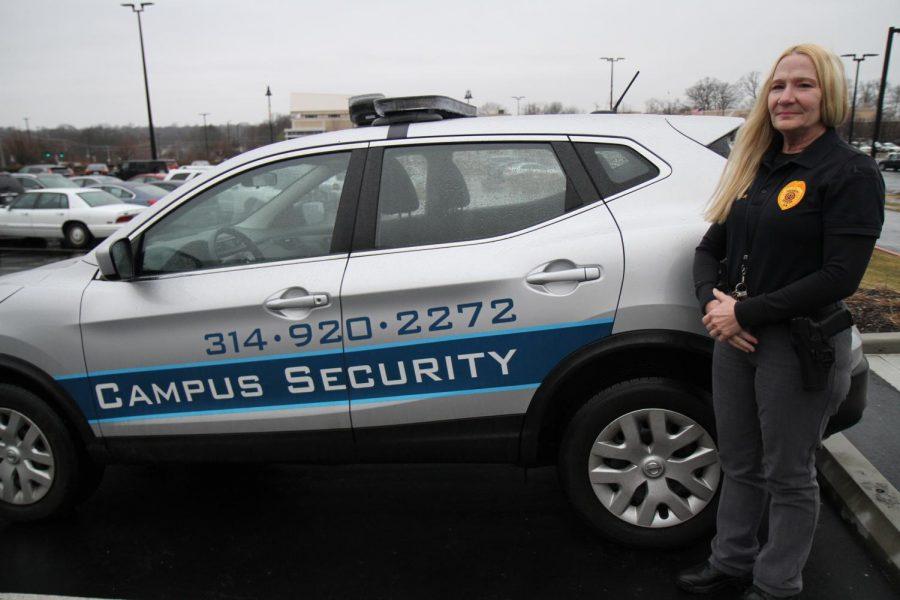 Carla+Pruitt+is+an+armed+guard+who+patrols+the+Millstone+Campus+near+Creve+Coeur.+Photo%3A+Eric+Berger