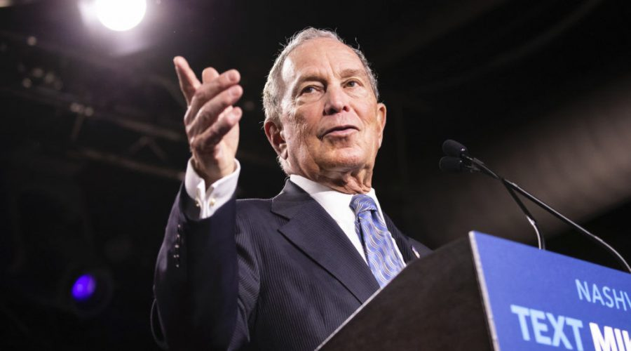 Democratic presidential candidate former New York City Mayor Mike Bloomberg delivers remarks during a campaign rally on February 12, 2020 in Nashville, Tenn. Photo by Brett Carlsen/Getty Images