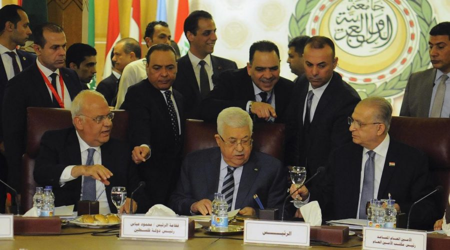Palestinian+President+Mahmoud+Abbas%2C+center%2C+attends+the+Arab+League%27s+foreign+ministers+meeting+in+Cairo%2C+Feb.+1%2C+2020.+%28Mohamed+Mostafa%2FNurPhoto+via+Getty+Images%29