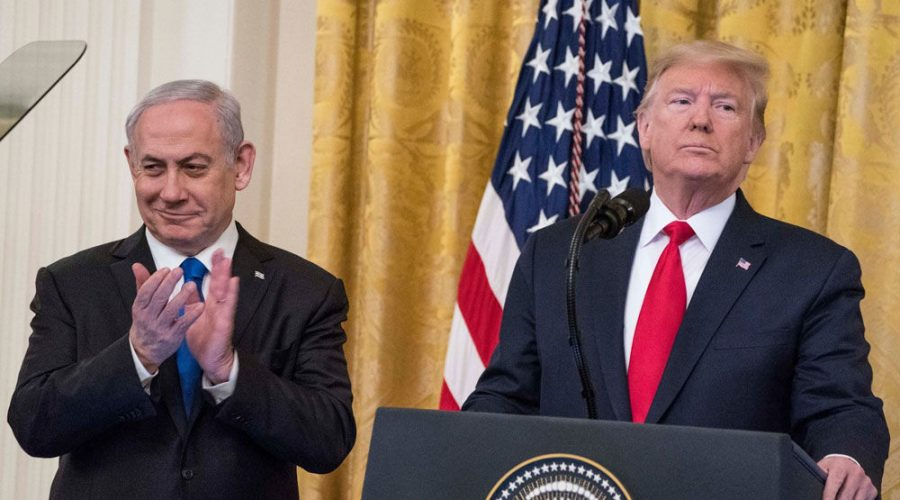 President Donald Trump and Israeli Prime Minister Benjamin Netanyahu speak during a joint statement at the White House on Jan. 28 announcing the Trump administration's peace plan proposal.