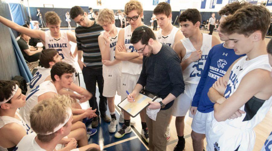 Coach+Ben+Falk+provides+instruction+to+his+Barrack+Hebrew+Academy+basketball+team.+%28Jay+Gorodetzer+Photography%29