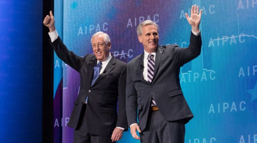 Reps.+Steny+Hoyer%2C+left%2C+and+Kevin+McCarthy+come+on+stage+at+the+AIPAC+policy+conference+in+Washington%2C+D.C.%2C+March+5%2C+2018.+Photo%3A+Cheriss+May%2FNurPhoto+via+Getty+Images