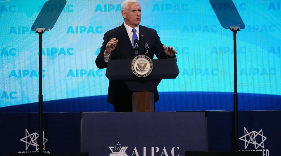 Vice+President+Mike+Pence+speaks+at+the+annual+AIPAC+conference+in+Washington%2C+March+25%2C+2019.+Photo%3A+Mark+Wilson%2FGetty+Images