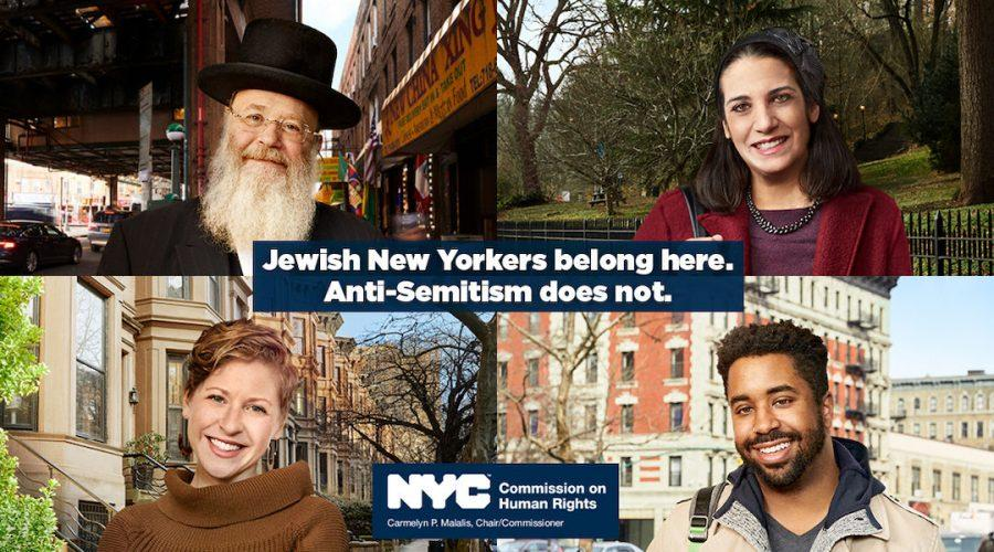 Top left, clockwise, Yosef Rapaport, Laura Shaw Frank, Marques Hollie and Dana Sussman appear in a New York City campaign in the wake of recent anti-Semitic attacks. NYC Commission on Human Rights