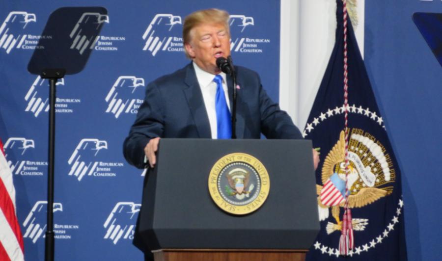 President+Donald+Trump+addresses+the+Republican+Jewish+Coalition+in+Las+Vegas%2C+April+6%2C+2019.+Photo%3A+Ron+Kampeas