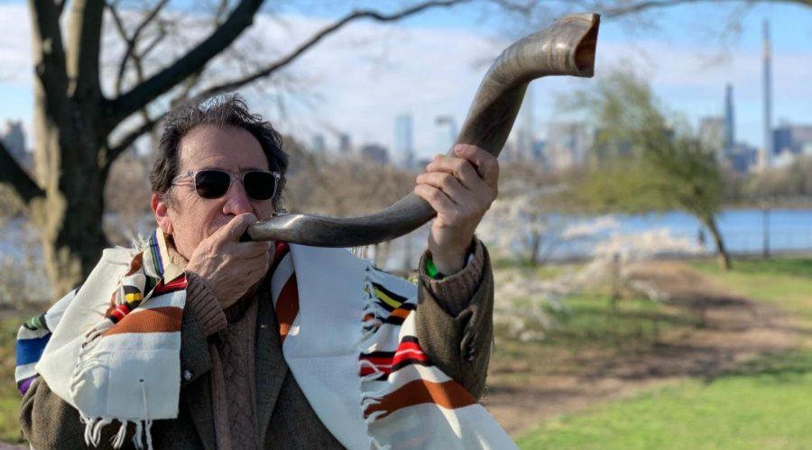 Hazon+CEO+Nigel+Savage+practices+blowing+his+shofar.+%28Courtesy+of+Hazon%29