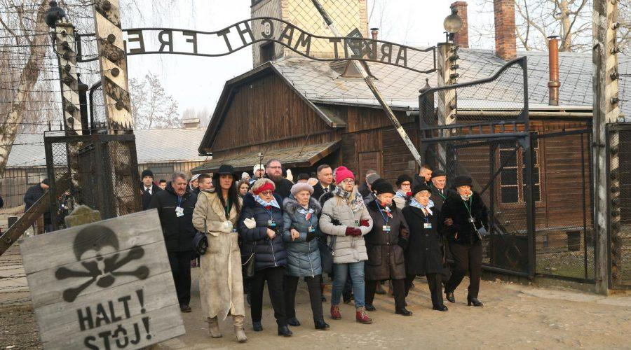 Former+prisoners+of+the+Auschwitz-Birkenau+concentration+camp+at+an+International+Holocaust+Remembrance+day+event+at+the+former+camp+in+Oswiecim%2C+Poland%2C+Jan.+27%2C+2020.+%28Damian+Klamka%2FSOPA+Images%2FLightRocket+via+Getty+Images%29