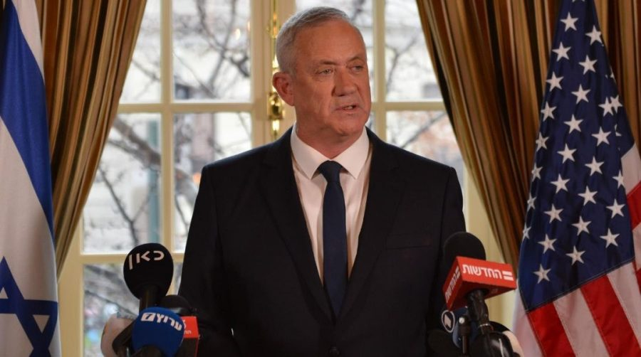 Benny+Gantz%2C+then+the+leader+of+the+Blue+and+White+coalition%2C+speaks+to+the+meedia+after+meeting+with+President+Donald+Trump+in+Washington%2C+Jan.+27%2C+2020.+%28Alexi+Rosenfeld%29
