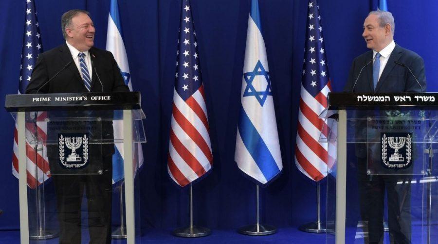 Secretary of State Mike Pompeo, left, and Israeli Prime Minister Benjamin Netanyahu meet in Jerusalem, May 13, 2020. (Kobi Gideon/GPO)