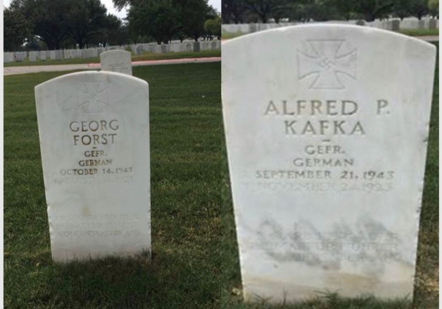 Two+undated+photos+of+POW+headstones+inscribed+with+swastikas+at+the+Fort+Sam+Houston+National+Cemetery+in+San+Antonio%2C+Texas.+Photo%3A+Courtesy+of+the+Military+Religious+Freedom+Foundation.