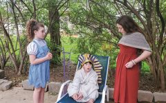 From left, Leora, Yehuda and Tzofia Dean family take part in a Passover play they wrote, directed and edited while learning at home.
