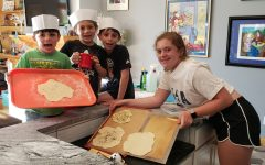Yishama, Rafi, Max and Yael make homemade matzah.