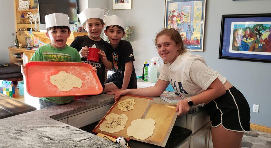 Yishama%2C+Rafi%2C+Max+and+Yael+make+homemade+matzah.%C2%A0