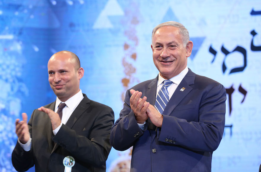 In+better+days%2C+Israeli+Prime+Minister+Benjamin+Netanyahu+and+then-+Education+Minister+Naftali+Bennett+attending+the+annual+Bible+Quiz+in+Jerusalem%2C+May+12%2C+2016.+Photo%3A+Shlomi+Cohen%2FFlash90