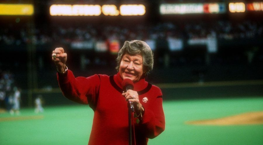 Then-Cincinnati+Reds+owner+Marge+Schott+speaks+to+the+fans+prior+to+the+start+of+Game+1+of+the+1990+World+Series+between+the+Reds+and+Oakland+Athletics+at+Riverfront+Stadium%2C+Oct.+16%2C+1990.+%28Focus+on+Sport%2FGetty+Images%29%C2%A0