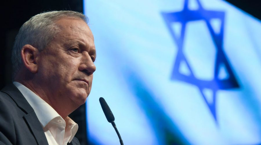 """Benny Gantz, seen in February 2020, said Israel """"will not take Palestinians into our territory. We will not violate human rights or freedom of movement."""