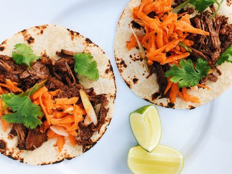 Brisket tacos and carrot slaw