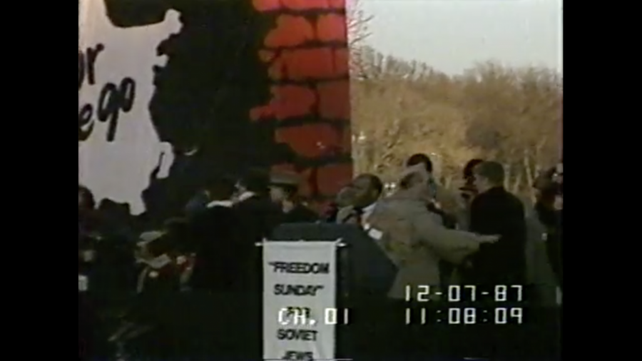 John Lewis spoke at a 1987 rally in support of Soviet Jewry in Washington, D.C. (C-SPAN screenshot)