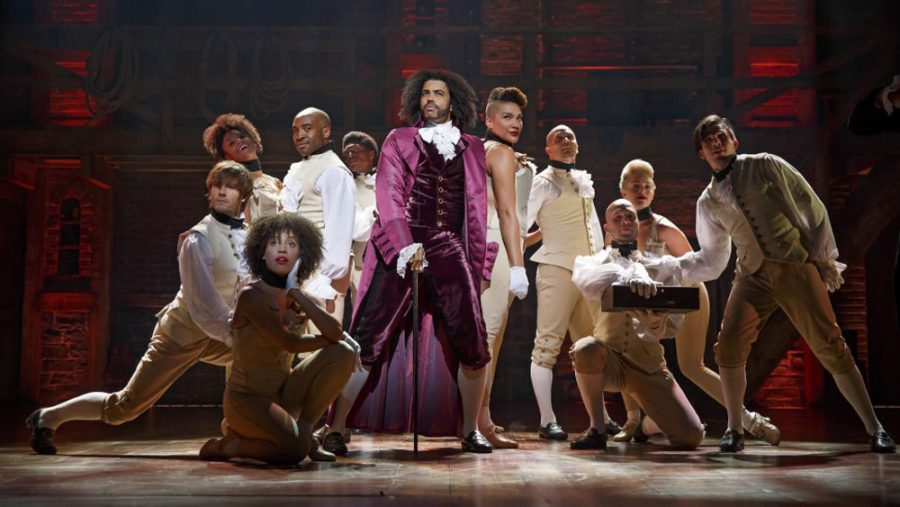 Daveed Diggs, above center, reprises his roles as Marquis de Lafayette and Thomas Jefferson in the film adaptation of Hamilton, streaming on Disney Plus beginning July 3.