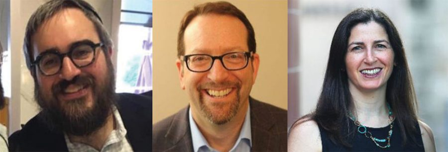 From left: Rabbi Levi Landa, Rob Goldberg and Ronit Sherwin will be guest speakers in a series of online discussions planned by JProStl.