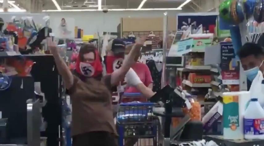 Shoppers+at+a+Walmart+in+Marshall%2C+Minn.%2C+wearing+Nazi+swastika+masks%2C+July+25%2C+2020.+%28Screenshot%29%C2%A0