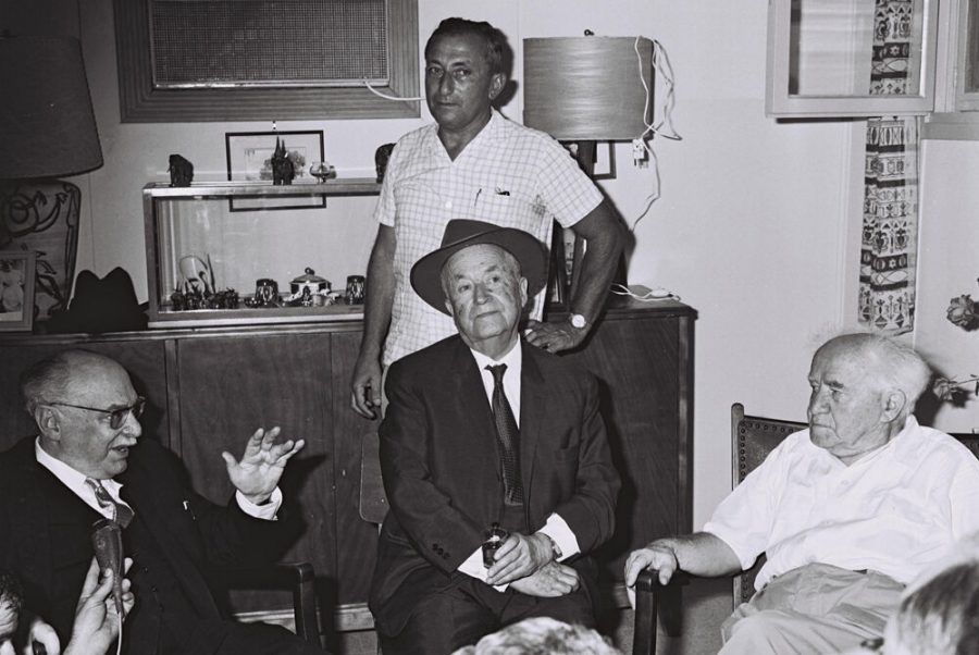 July 17, 1888: President Zalman Shazar (left) and S.Y. Agnon (center) visit David Ben-Gurion at his Sde Boker home for the former prime minister's 80th birthday in 1966.