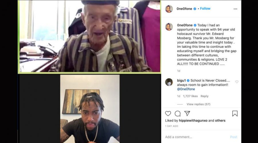 NFL+star+DeSean+Jackson+accepted+an+invitation+from+94-year-old+Holocaust+survivor+Edward+Mosberg+to+visit+Auschwitz+together.+%28Screenshot+from+Instagram%29%C2%A0