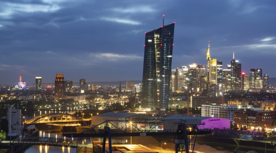 A+view+of+the+Frankfurt+skyline%2C+May+8%2C+2020.+%28Boris+Roessler%2Fpicture+alliance+via+Getty+Images%29