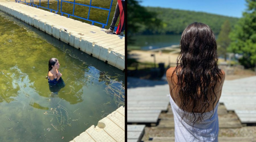 Alexa Rae Ibarra immersed in the lake at Camp Ramah in the Berkshires to complete her conversion to Judaism. (Courtesy of Ibarra)