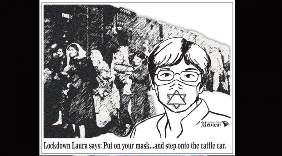 Political cartoon published July 3, 2020 by The Anderson County Review against Kansas Gov. Laura Kelly's order requiring state residents to wear masks. Photo: The Anderson County Review Facebook page
