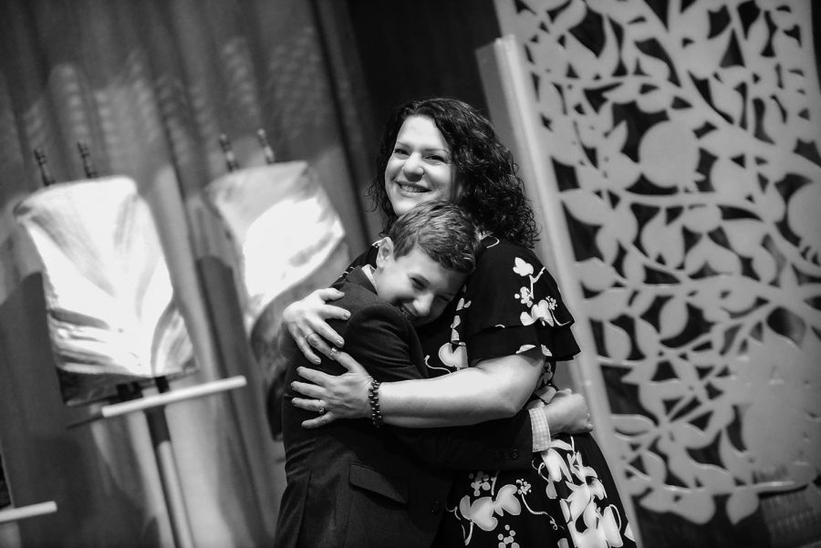 Amy Fenster Brown with her son, Leo, at his bar mitzvah earlier this month.