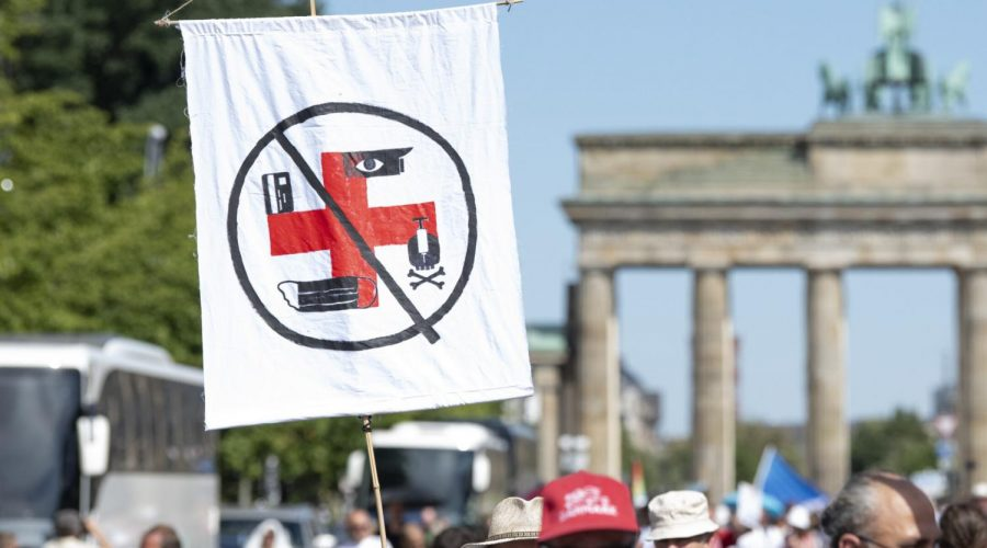 Some+protesters+at+a+Berlin+rally+compared+coronavirus+restrictions+to+Nazi+rules%2C+Aug.+1%2C+2020.+%28Photo+by+Fabian+Sommer%2Fpicture+alliance+via+Getty+Images%29
