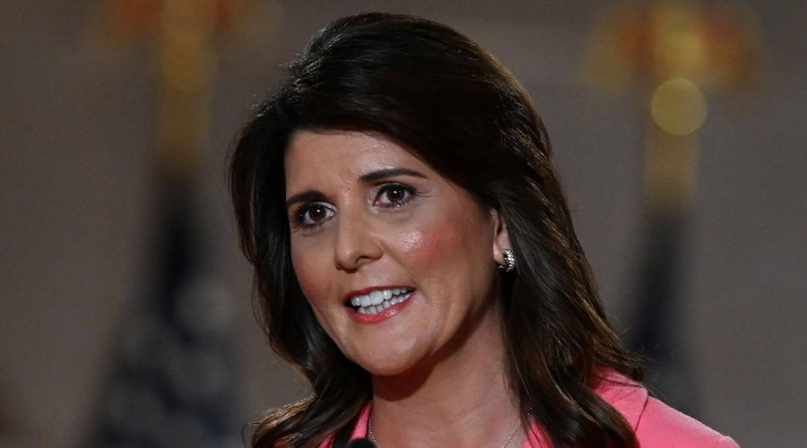 Former+Ambassador+to+the+United+Nations+Nikki+Haley+speaks+during+the+first+day+of+the+Republican+convention+at+the+Mellon+auditorium+in+Washington%2C+DC+on+August+24%2C+2020.+%28OLIVIER+DOULIERY%2FAFP+via+Getty+Images%29%C2%A0