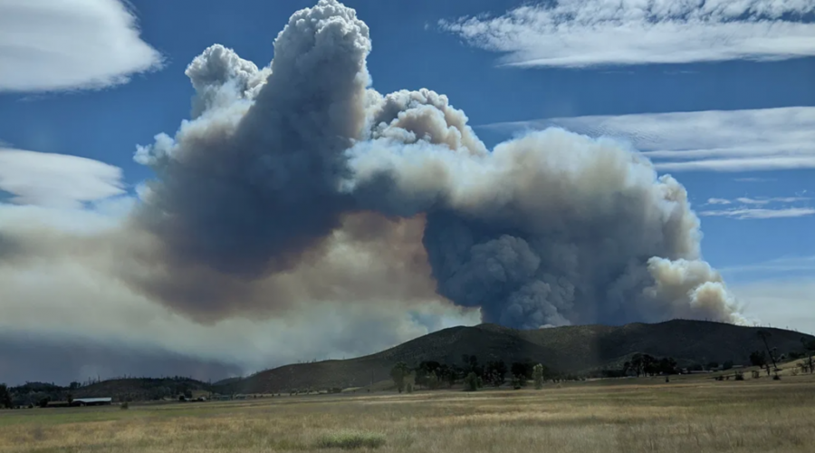 A fire in Napa County as seen from Middletown in Lake County, Calif., Aug. 19, 2020. (Jade May)