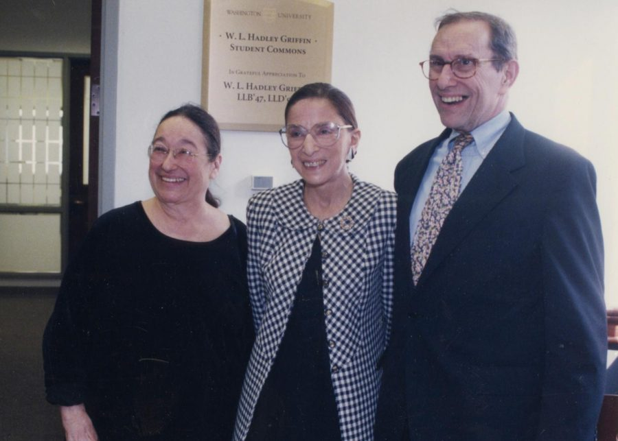 Lois Severin and her late husband, Phil, with Ginsburg at Washington University.