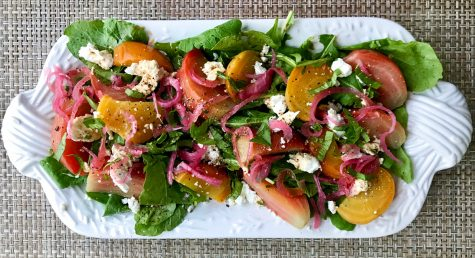 Arugula Salad with Roasted Beets, Red Onions, Walnuts and Goat Cheese