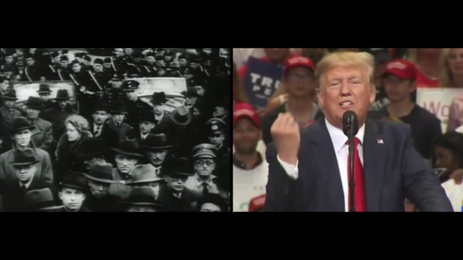 A+screengrab+from+an+ad+by+the+Jewish+Democratic+Council+of+America+released+on+Sept.+29%2C+2020.+The+ad+draws+parallels+between+the+rise+of+fascism+in+Germany+and+the+Trump+presidency.+%28YouTube%29