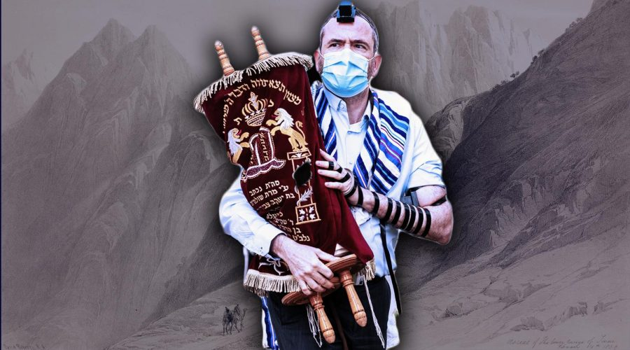 Foreground%3A+An+Orthodox+Jew+holds+the+Torah+while+wearing+a+mask+as+he+takes+part+in+a+morning+public+prayer+service.+%28Guy+Prives%2FGetty+Images%29+Background%3A+Ascent+to+Mount+Sinai+by+David+Roberts%2C+London%2C+1849.+%28Icas94+%2F+De+Agostini+via+Getty+Images%29