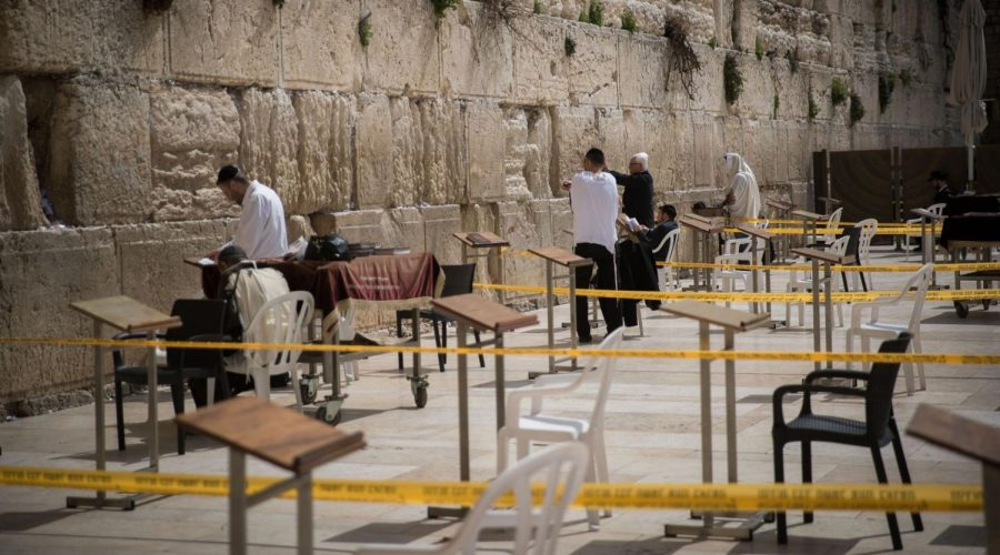 Worshippers+at+the+Western+Wall+pray+in+enclosed+areas+meant+for+10+people+at+a+time+in+order+to+prevent+the+spread+of+coronavirus%2C+March+15%2C+2020.+%28Yonatan+Sindel%2FFlash90%29%C2%A0