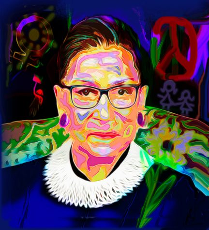 A portrait of U.S. Supreme Court Justice Ruth Bader Ginsburg by St. Louis Jewish artist Sherry Salant. Her work, along with 10 other local artists, is now featured at West County Center. Each artist created a piece depicting their interpretation of the Center's trademark Dove symbol and the public can vote for their favorite through Sept. 30.