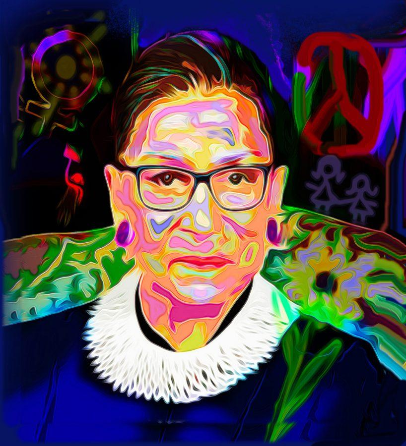 A+portrait+of+U.S.+Supreme+Court+Justice+Ruth+Bader+Ginsburg+by+St.+Louis+Jewish+artist+Sherry+Salant.+Her+work%2C+along+with+10+other+local+artists%2C+is+now+featured+at+West+County+Center.+Each+artist+created+a+piece+depicting+their+interpretation+of+the+Center%E2%80%99s+trademark+Dove+symbol+and+the+public+can+vote+for+their+favorite+through+Sept.+30.%C2%A0