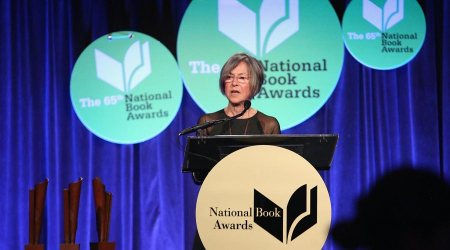 Louise Gluck speaks at the 2014 National Book Awards in New York City, Nov. 19, 2014. (Robin Marchant/Getty Images)