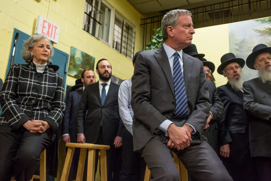 New+York+City+Mayor+Bill+de+Blasio+attends+a+press+conference+after+meeting+with+Satmar+Jewish+community+leaders+to+denounce+the+hate+crime+attack+in+Jersey+City%2C+December+12%2C+2019+in+the+Williamsburg+neighborhood+of+Brooklyn%2C+New+York.+%28Photo+by+Andrew+Lichtenstein%2FCorbis+via+Getty+Images%29