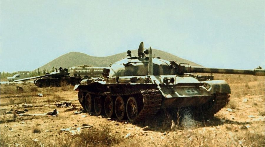 Abandoned Syrian tanks in the Golan Heights during the 1973 Yom Kippur War. (Wikimedia Commons)